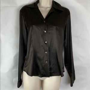 Banana Republic brown stretch silk blouse